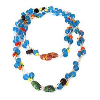 Halskette, Blautöne, Glas-Recycling-Perlen